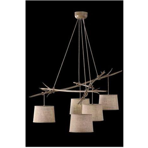 Lámpara rustica natural de 5 Luces SABINA imitación madera NOVEDAD