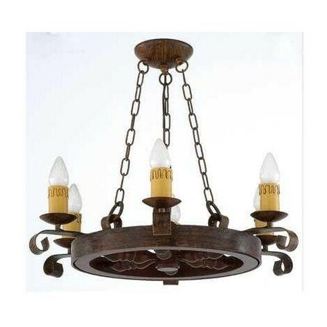 Lámpara Rustico Rueda 5l 5xe27 60w(68x55