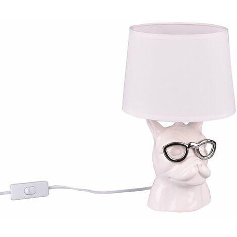 Lámpara sobremesa cerámica blanca Dosy