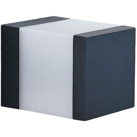 Lámpara sobremuro LED Litas, angular, gris oscuro
