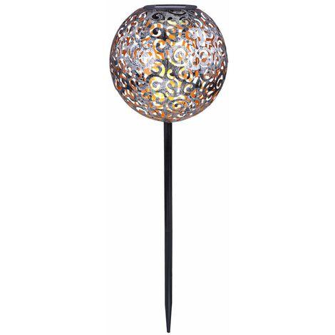 "main image of ""Lámpara solar con enchufe al aire libre LED Terraza Decoración Braid Sphere Ground Spike Lamp plata  Globo 33743"""