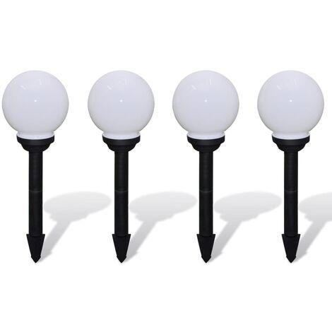 Lámpara solar de bola LED de jardín 15 cm pica de tierra 4 uds