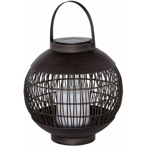 Lámpara solar de bola LED Lámpara colgante de vela negra Lámpara de mesa al aire libre Decoración de terraza Linterna Efecto de fuego Globo 33286