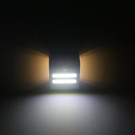 Lampara solar de deteccion de movimiento de pared, IP65, tres modos de iluminacion, cascara blanca, luz calida atmosfera blanco