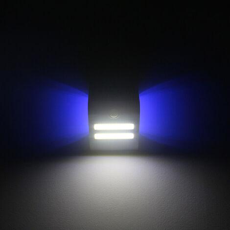 Lampara solar de deteccion de movimiento de pared, IP65, tres modos de iluminacion, cascara blanca, un ambiente de color azul claro