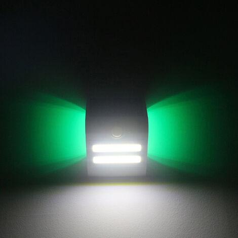 Lampara solar de deteccion de movimiento de pared, IP65, tres modos de iluminacion, cascara blanca, un ambiente de color verde claro
