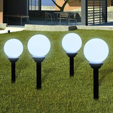 Lampara solar de jardin en forma de bola con LED, 15 cm, 4 unidades