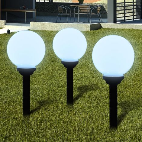 Lámpara solar de jardín en forma de bola con LED, 20 cm, 3 unidades