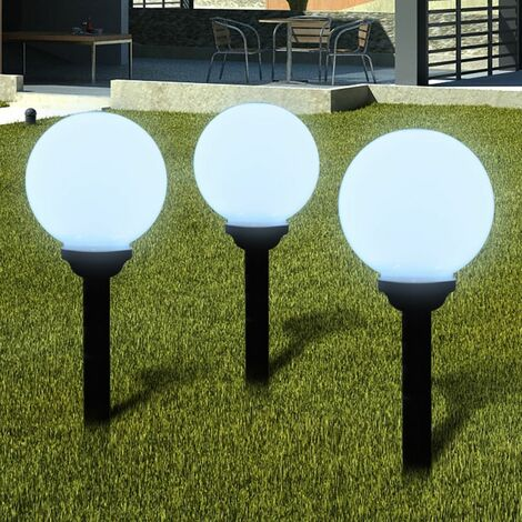 Lampara solar de jardin en forma de bola con LED, 20 cm, 3 unidades