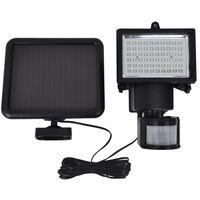 Lámpara solar foco de LED de exterior con sensor, negra