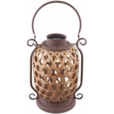 Lámpara solar LED al aire libre balcón soporte lámpara colgante jardín bambú foco linterna óxido Globo 33679