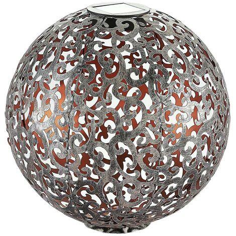 Lámpara solar LED Eduta, esfera plata-oro