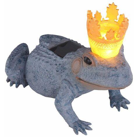 Lámpara solar LED exterior rana rey decoración de jardín iluminación de pie lámpara gris oro Globo 33087