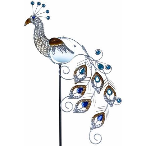 Lámpara solar LED jardín figura lámpara de cristal pavo real iluminación exterior foco pájaro Globo 33309S