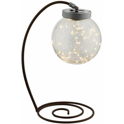 Lámpara solar LED Mesa de jardín Patio Lámpara Rust Sphere Diseño Porche exterior Iluminación Globo 33803
