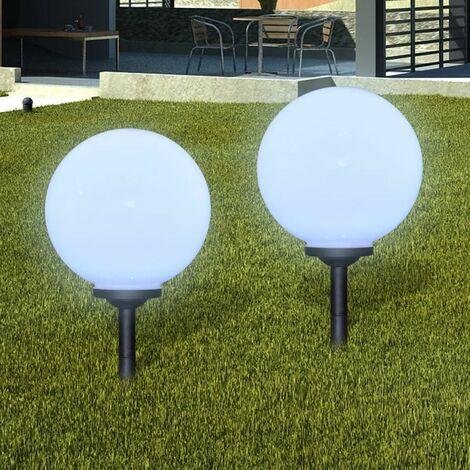 Lampara solar LED para el jardin 30cm 2 uds con pica de tierra