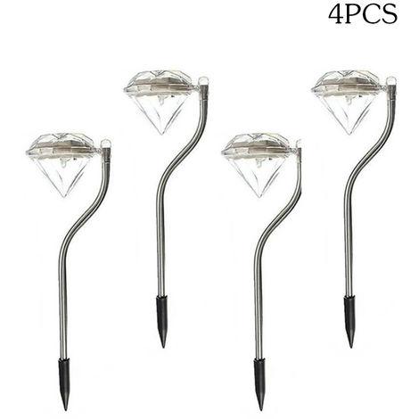Lampara solar LED para exteriores, Luces de diamante, 4 piezas,Blanco