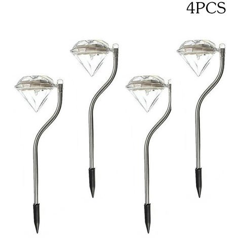 Lampara solar LED para exteriores, Luces de diamante, 4 piezas,Blanco calido