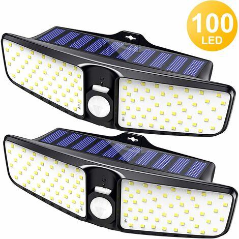 Lámpara solar LITZEE para uso en exteriores, [paquete de 2] Sensor de movimiento solar de 100 LED para uso en exteriores con iluminación gran angular de 220 °, lámpara de camping solar impermeable IP65 para jardín, terraza