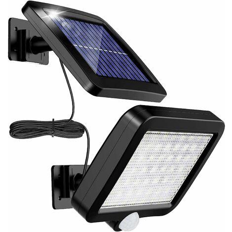 Lámpara solar para exteriores LangRay con detector de movimiento 56 LED, impermeable IP65 Luz solar de jardín de 120 ° con cable de 5 m [clase energética A ++]