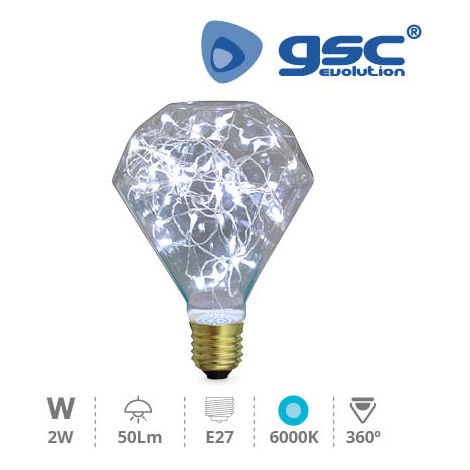 Lampara Starlight deco. Diamond LED 2W E27 6000K