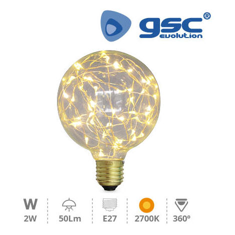 Lampara Starlight deco.globo G95 LED 2W E27 3000K