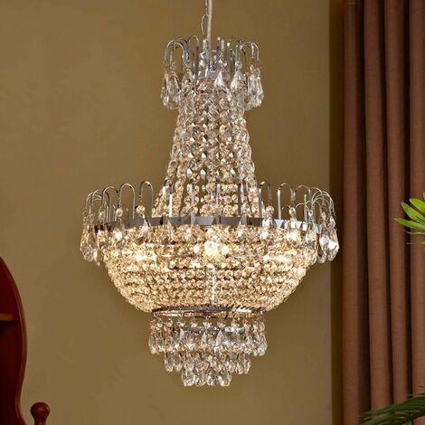 Lámpara suspendida de cristalCasparia cromada