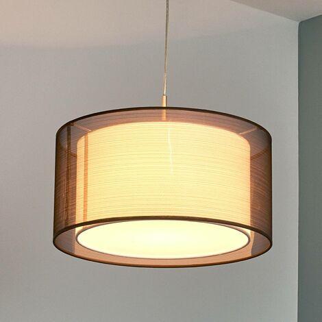 Lámpara suspendida de tela Nica marrón