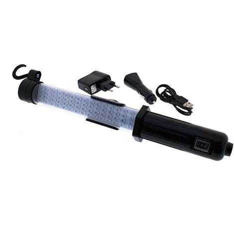 lámpara taller con 18 led superiores y 60 led frontales bateria recar.+cargadores de red y auto