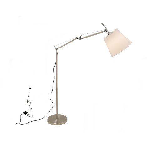 Lámpara TAURON, pie de salón, plateada, pantalla blanco crudo