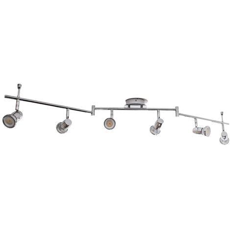 Lámpara techo de cromo LED con seis focos Arminius