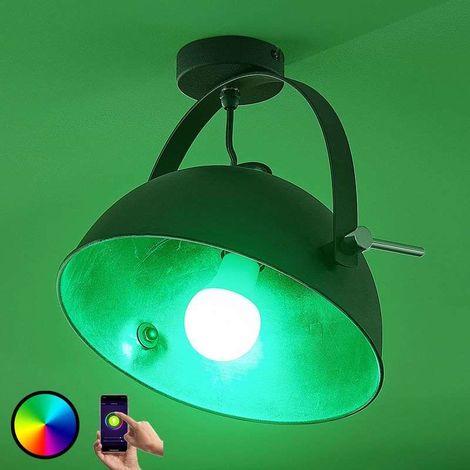Lámpara techo Muriel 1 bombilla WiFi negro/plata