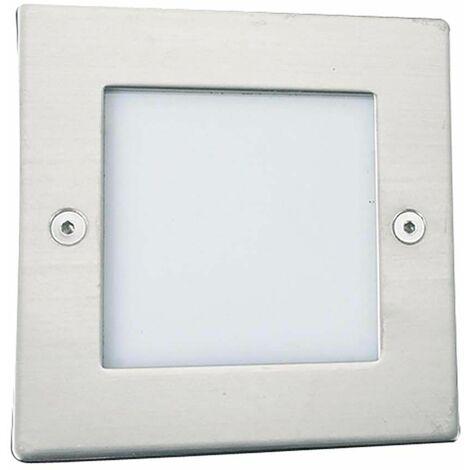 Lámpara tobillera LED empotrable interior y exterior 1W, cuadrada, cromada, LED blanca PC