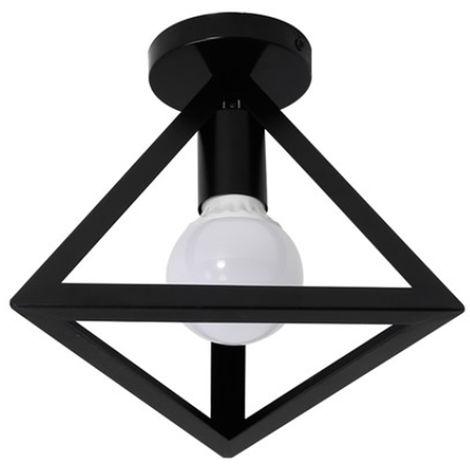 Lámpara Triángulo de Techo Luz Colgante Forma Piramide Cubo Jaula de hierro Creativo Metal Simple Retro Iluminación Industrial Araña Decorativa para Restaurante Bar (Negro)