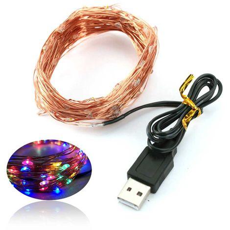 Lampara USB de la lampara de cobre LED cadena de Navidad lampara decorativa de cobre estrella Cadena Cadena ligera, 5m 50 luces, colorido