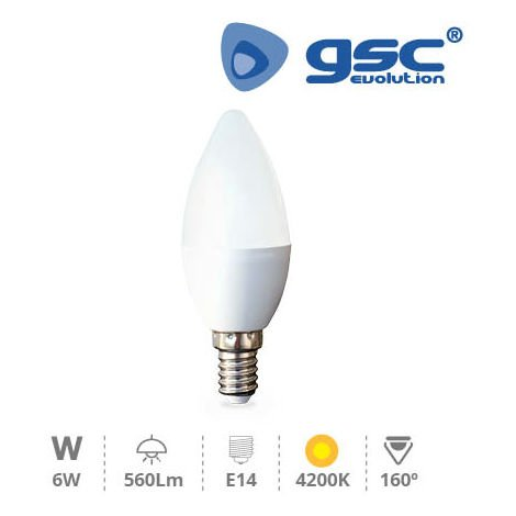 Lámpara Vela LED 6W E14 4200K