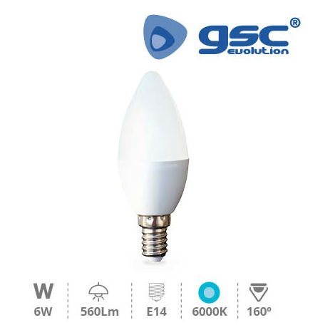 Lámpara Vela LED 6W E14 6000K
