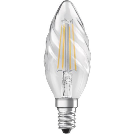 Lámpara vela rizada filamento Led E14 4W 2700°K 470Lm (Osram 4052899961913)