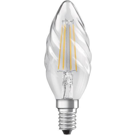 Lámpara vela rizada filamento Led E14 4W 2700°K 470Lm (Osram 4058075287921)