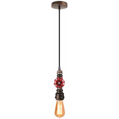 Lámpara Vintage Colgante de Tubo Metal Industrial Iluminación E27 Lámpara de Techo de Cáñamo Rústico Retro Estilo Comedor Restaurante Cafe