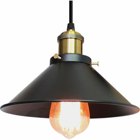 Lámpara Vintage Colgante Luz Industrial Lámpara de Techo Retro Casquillo E27, Moderna Lámpara de Techo para Loft Restaurante Coffee Bar Color (Negro)26cm