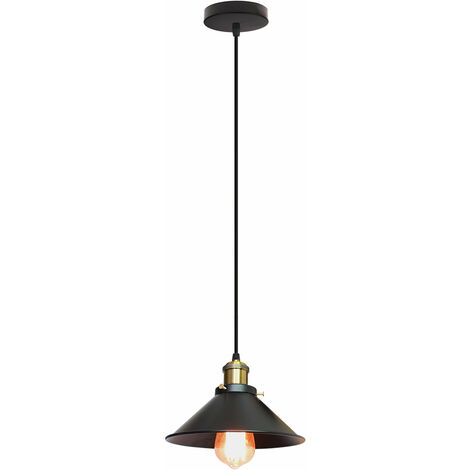 Lámpara Vintage Colgante Luz Industrial Lámpara de Techo Retro Casquillo E27, Moderna Lámpara de Techo para Loft Restaurante Coffee Bar Color (Negro)30cm