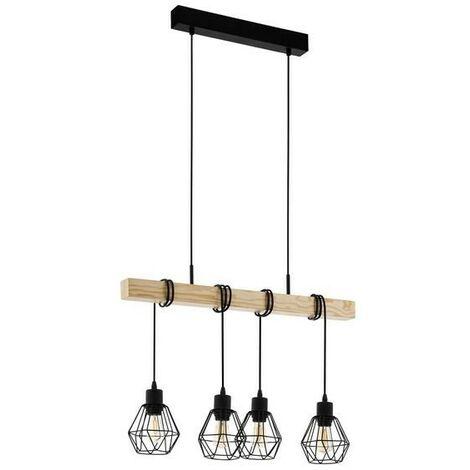 Lámpara vintage de techo de metal con soporte de madera 220-240 V IP20 | hierro