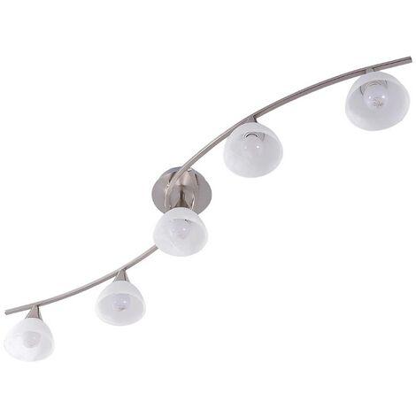 LámparaLED de techoDella, 5 luces, níquel mate