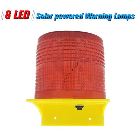 Lamparas de advertencia solar, 8 LED, luz roja