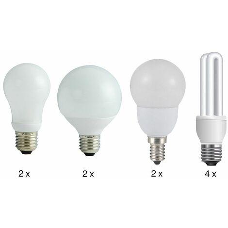 lámparas de ahorro de energía Set 6x E27 y E14 4x Opal 450 lúmenes Globo 10598