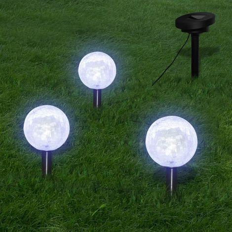 Lámparas de bola jardín LED anclajes y paneles solares 3 uds