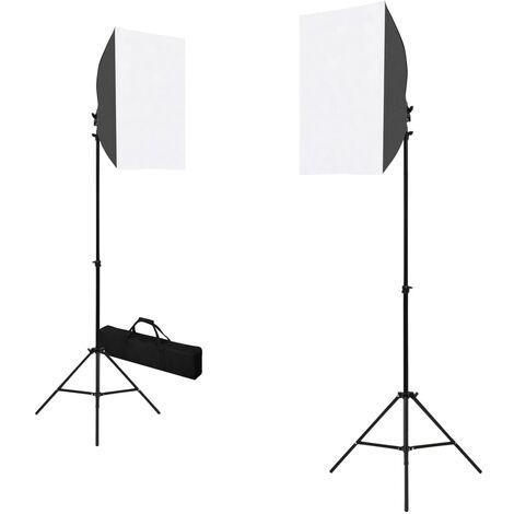 Lámparas de estudio profesional 2 uds acero negro 40x60 cm
