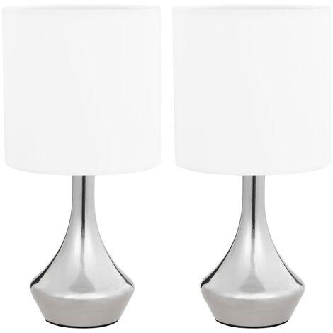 Lámparas de mesa táctiles 2 unidades blanco E14