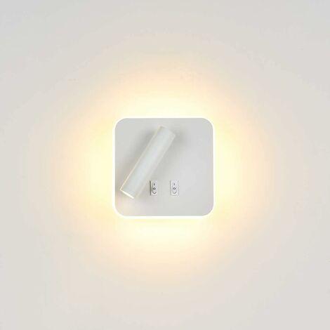 Lámparas de mesita de noche LITZEE Lámpara de pared, iluminación interior de hotel Lámpara de pared, pasillo Lámpara de pared con interruptor (12W blanco / blanco cálido) [Clase energética A +]